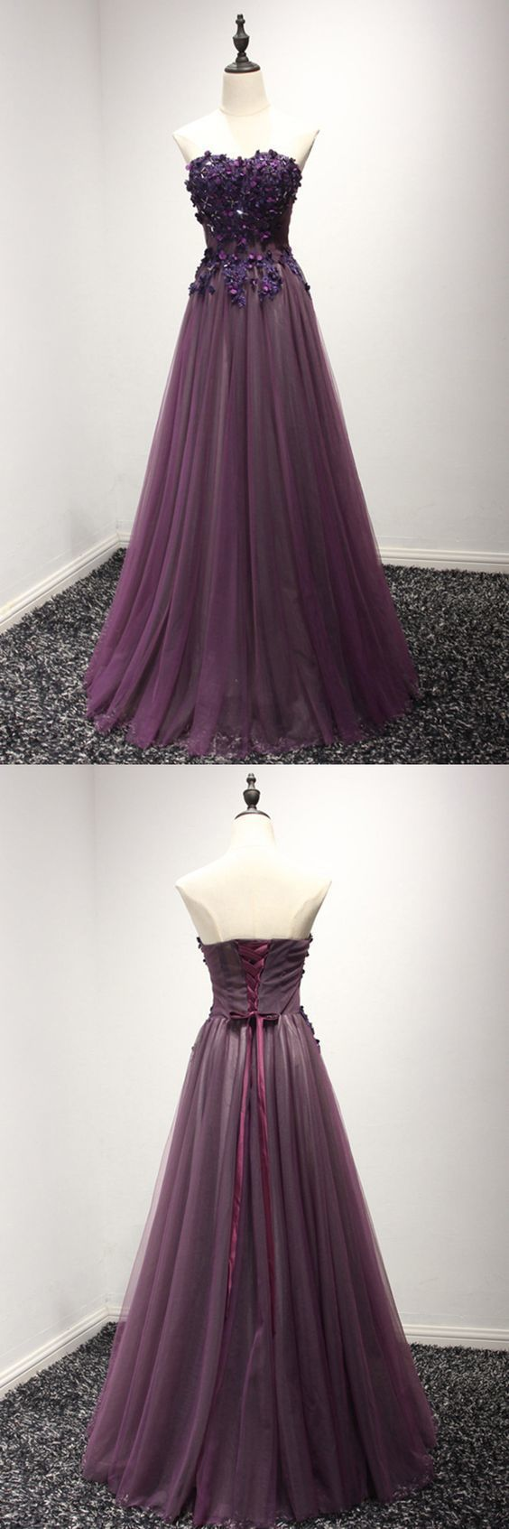 Purple Long Floral Prom Formal Dress In Long, F0558