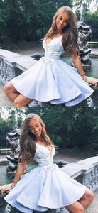 Cute v neck lace short prom dress, homecoming dres, F0560