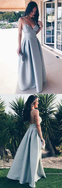 A-Line Spaghetti Straps Floor-Length Grey Satin Backless Prom Dress, F0561