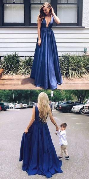 Long deep v neck sexy blue popular elegant formal Prom Dress, popular gowns Party Dress, F0562