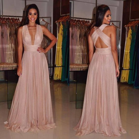 Blush pink prom dress,V-neck long prom dress,A-line backless prom gown, chiffon evening gowns, Floor Length Party Dress, F0564