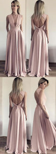 Elegant V Neck Pink Long Prom Dress with Open Back , F0567