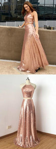 Two Piece Prom Dresses A-line Rose Gold Sequins Long Prom Dress Sexy Evening Dress, F0569