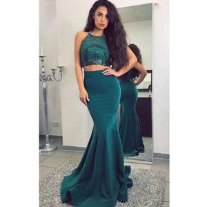 Two Pieces Halter Mermaid Sexy Teal Long Prom Dresses, F0573