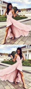 Pink Spaghetti Strap V-Neck High-Low Long Evening Prom Dresses, F0576
