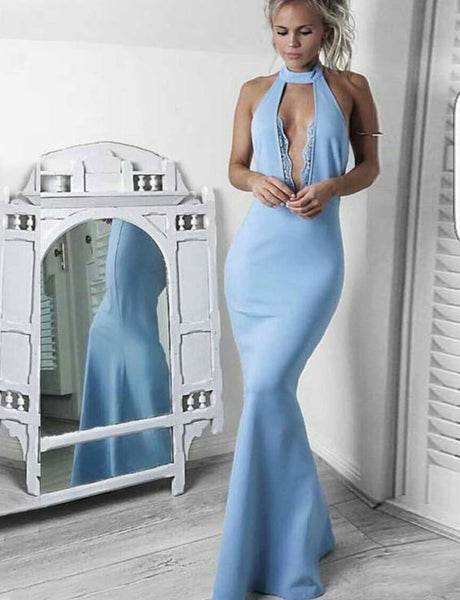 Stylish Mermaid High Neck Sleeveless Blue Long Prom Dress with Lace, F0578