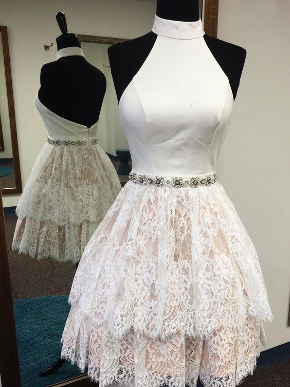 White Lace Halter Backless Tiered Short Prom Dress Homecoming Dresses Party Gowns, F0581