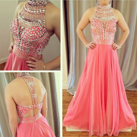 high neck peach chiffon beaded long 2017 prom dress, F0583