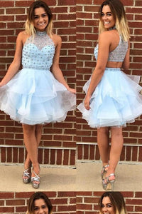 Outlet Easy High Neck Homecoming Dress, Homecoming Dress A-Line, Blue Homecoming Dress, Prom Dress Short, F0584