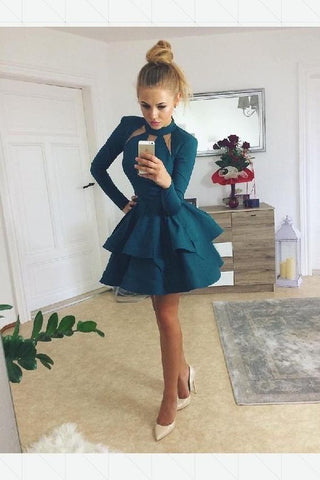 Engrossing A-Line Prom Dresses, High Neck Prom Dresses, Green Prom Dresses, Short Prom Dresses, F0585