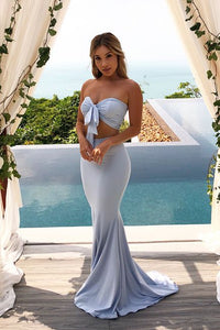 Sexy Two Piece Sweetheart Light Sky Blue Mermaid Long Evening Dress, F0591