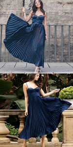 A-Line Spaghetti Straps Dark Blue Pleated Prom Dress, F0592
