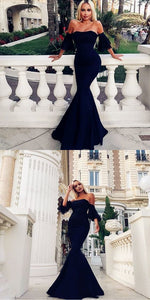 Mermaid Off the Shoulder Black Long Prom Dress with Sleeves, F0593
