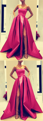 Sexy Strapless Prom Dress, High Slit Hot Pink Party Dress, Charming Evening Dress, F0597