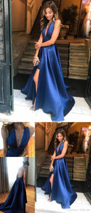 Gorgeous prom dresses evening dress, 2019 navy blue long prom dress, deep v neck halter navy blue long prom dress graduation dress, F0600