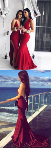 Gorgeous prom dresses, red prom dresses, long prom dresses, 2019 prom dresses with train, formal evening dresses, F0601