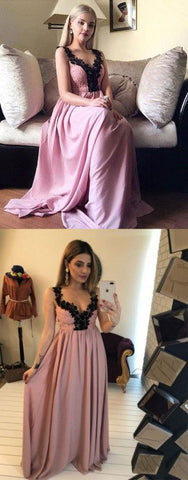 pink v neck chiffon lace long prom dress, F0607
