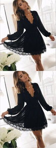 A-Line Deep V-Neck Long Sleeves Black Lace Short Homecoming Dresses , F0608
