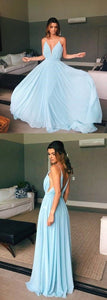 V-Neck Sweep Train Light Blue Chiffon Prom Dress, F0609