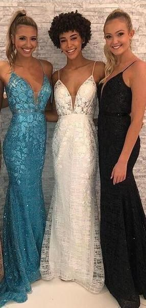 Spaghetti Straps Long Mermaid Blue Black White Prom Shinning Sparkly Dresses, F0611