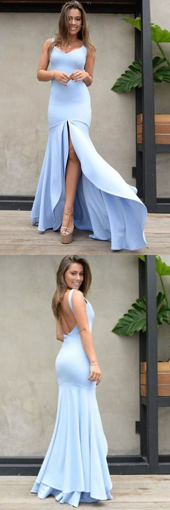 Mermaid Scoop Backless Blue Satin Prom Dress with Split, F0614