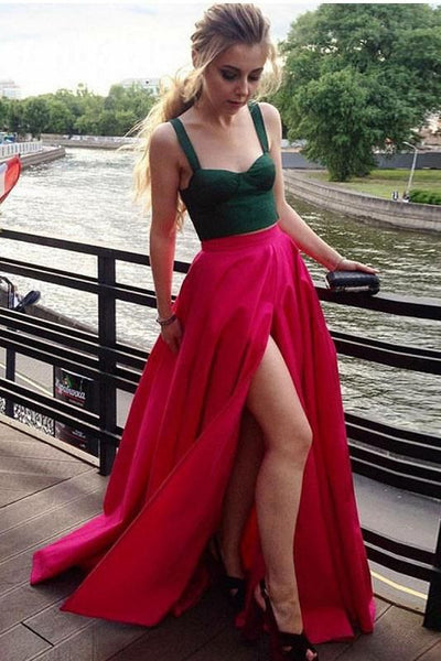 Two Piece A-Line Square Neck Fuchsia Satin Split Prom Dress With Green Top, F0621