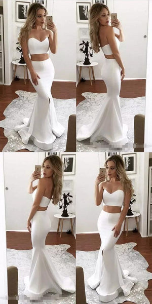 two piece prom dresses,sexy mermaid prom dresses,long white prom dresses,prom dresses for women , F0625