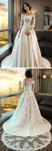 Modest 3/4 Sleeve Off the Shoulder A Line Lace Wedding Dress, F0632