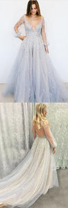 Princess A-Line Deep V-Neck Puffy Long Sleeves Tulle Prom Dress with Beading, F0633