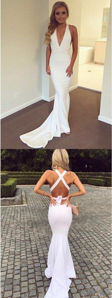 Long Sexy Unique Mermaid V-Neck Criss-Cross Straps Sweep Train White Prom Dress, F0638