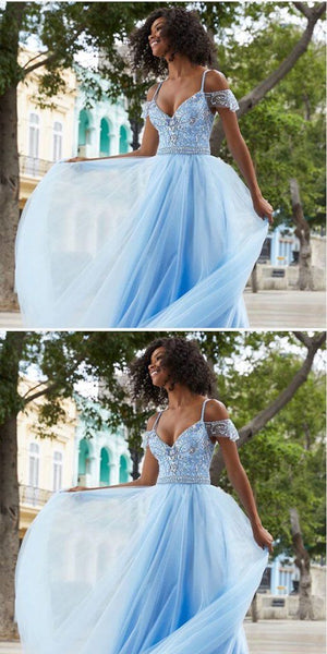 Spaghetti Straps Beaded Blue Long Prom Dresses ,Cheap Prom Dresses, F0640