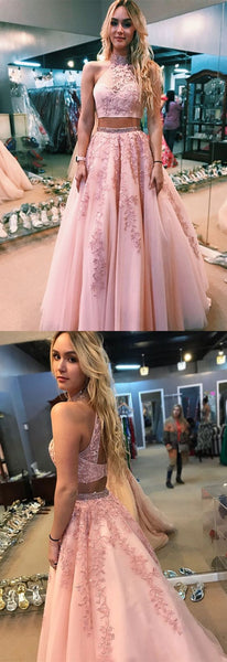 Charming two piece pink long prom dress, prom dress,party dress,high neck pink long prom dress with open back, party dress, F0645