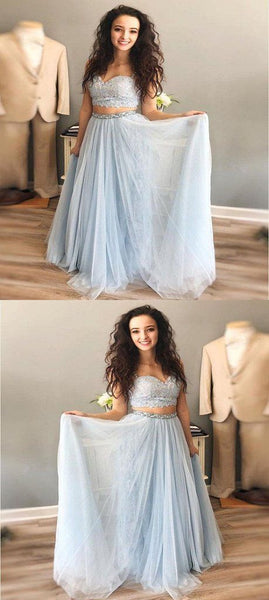 A-Line Two Pieces Spaghetti Straps Tulle Long Prom Dresses, F0646