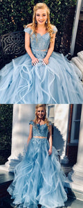 Charming Blue Appliques Lace Cap Sleeve Long Prom Dress, Formal Evening Gowns, F0648