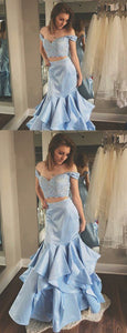 2 Pieces Off Shoulder Lace Satin Mermaid Prom Dresses, F0650