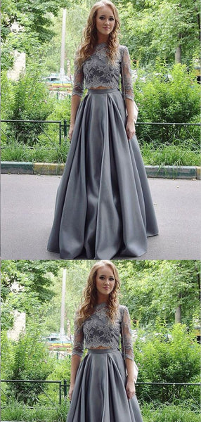 Two Piece Floor-Length Half Sleeves Grey Satin Prom Dresses,Cheap Prom Dresses,F0651