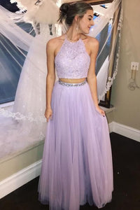 Elegant Prom Dresses,Lavender Prom Dress,Two Piece Prom Dresses,Halter Prom Gown,Lace Prom Dress,Beading Evening Dress ,F0653