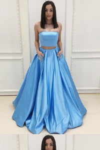 Cheap Enticing Light Blue Prom Dresses, Prom Dresses 2018, Two Pieces Prom Dresses, Blue Prom Dresses, F0654