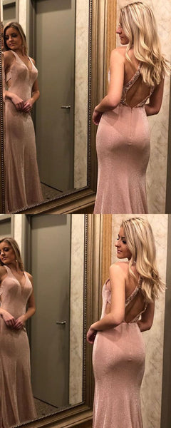 Mermaid V-neck Open-back Long Sleeveless Prom Dress, F0658