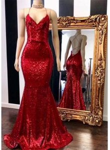 Sexy Red Sequins Prom Gowns | 2019 Spaghetti Straps Mermaid Evening Gowns Online, F0659