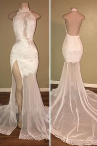 Sexy White Lace Prom Dresses, High Neck Backless Mermaid Evening Gowns, F0660