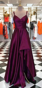 Long A-line Hi-low Plum Satin Prom Dresses, Formal Dresses, F0661