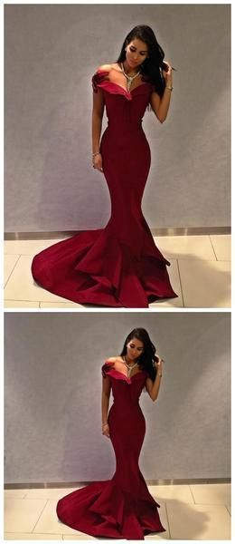 Off Shoulder Simple Maroon Long Evening Prom Dresses, Cheap Sweet 16 Dresses, F0668