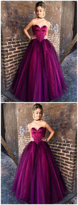 Sweetheart A-Line Long Prom Dress,Floor Length Red Tulle Evening Dress, F0669