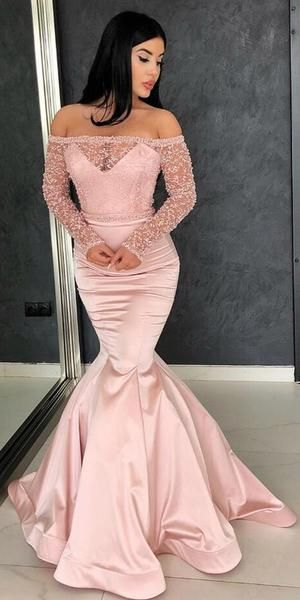 Off the Shoulder Long Sleeves Mermaid Beaded Pink Long Prom Dresses, F0670
