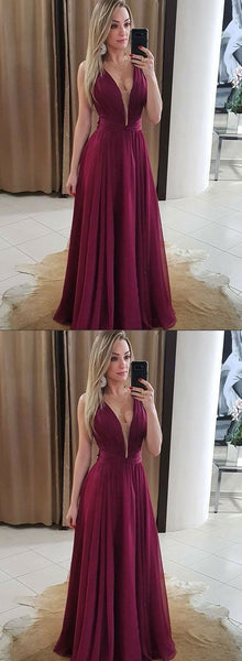 Burgundy v neck chiffon long prom dress, burgundy evening dress, F0672