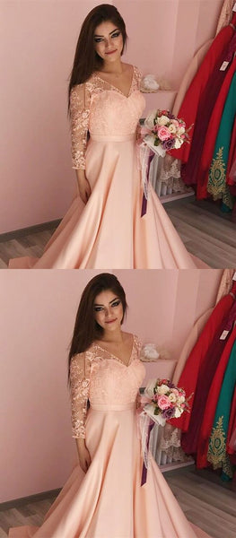 A-Line V-Neck 3/4 Sleeves Sweep Train Peach Satin Prom Dress with Appliques, F0673
