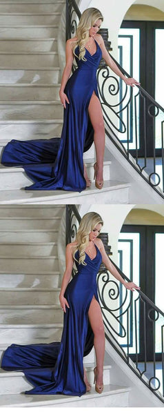 Royal Blue Evening Party Dresses Long with Sexy high Slit, F0678