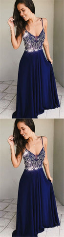 A-Line Spaghetti Straps Floor-Length Dark Blue Prom Dress with Beading, F0680