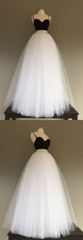 Charming Prom Dress, Spaghetti Straps Prom Dresses,White Tulle Evening Dress,Sexy Homecoming Dress , F0683